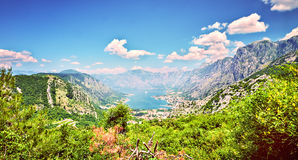 Top view Boka Kotorska gulf mountain Lovchen Montenegro wide angle Stock Images