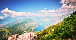 Top view Boka Kotorska gulf mountain Lovchen Montenegro wide angle Royalty Free Stock Images