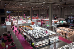 Top view of booths and people at Chibimart 2013 in Milan, Italy Royalty Free Stock Image