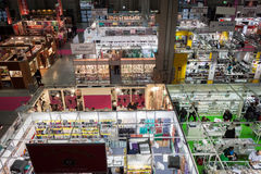 Top view of booths and people at Chibimart 2013 in Milan, Italy Stock Photo