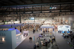 Top view of booths and people at HOMI, home international show in Milan, Italy Stock Image
