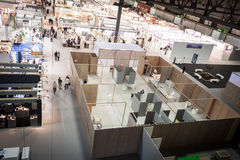 Top view of booths and people at HOMI, home international show in Milan, Italy Royalty Free Stock Image