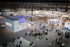 Top view of booths and people at HOMI, home international show in Milan, Italy Royalty Free Stock Photos