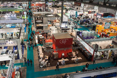 Top view of booths and people at Host 2013 in Milan, Italy Stock Photo