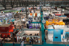 Top view of booths and people at Host 2013 in Milan, Italy stock photography