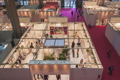 Top view of booths and people at Si' Sposaitalia in Milan, Italy Stock Images