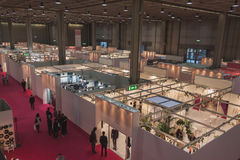 Top view of booths and people at Si' Sposaitalia in Milan, Italy Royalty Free Stock Image