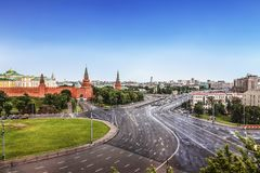Top view of Borovitskaya square, Moscow. Russia stock image