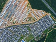 Arial View of Residential Area. Top View of both completed and new phase residential area surrounded by forest Royalty Free Stock Photography