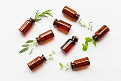Top view, Bottle of essential oil with herbs sage, rosemary, or royalty free stock image