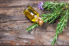 Top view Bottle glass of essential rosemary oil with rosemary branch and flower on wooden rustic background. Herbal oil concept royalty free stock photography