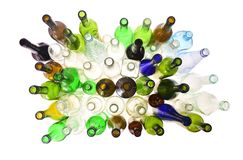 Top view bottles on white royalty free stock photography