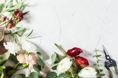 Floral bouquet preparation. Top view bouquet preparation with copy space. Small business concept Stock Image