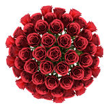 Top view bouquet of red roses in vase isolated on white Royalty Free Stock Image