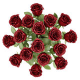 Top view bouquet of red roses in vase isolated on white Royalty Free Stock Photo