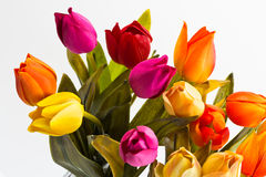 A top view of a bouquet of tulips. Part of the bouquet of tulips different colors on a white background Royalty Free Stock Photography