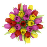Top view bouquet of tulips in vase isolated on white Stock Photos