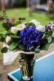 Top view of a bouquet of white and blue spring flowers Stock Photography