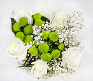 Top view of bouquet with white rose flowers Royalty Free Stock Photos