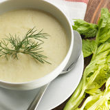 Top view of a bowl of celery soup on a rustic background Stock Photography