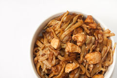 Top view of bowl with chinese meal Royalty Free Stock Images