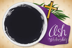 Top View of Bowl and Other Elements for Ash Wednesday, Vector Illustration Stock Photos