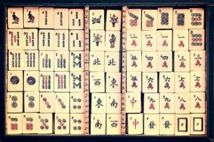 Top view of a box of antique Mahjong tiles stock images