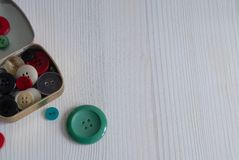 Top view of box with buttons stock images