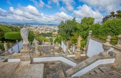 Top view of Braga city, Portugal, from Bom Jesus do Monte Sanctuary stock photo