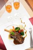 Top view of a braised lamb shank Stock Photo