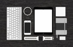 Top view of branding identity technology mockup on black desk su Stock Image
