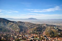 Top view of Brasov city center. City of Brasov, in Romania, Landscape top view Stock Photo