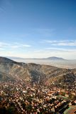 Top view of Brasov city center. City of Brasov, in Romania, Landscape top view Royalty Free Stock Images