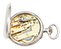 Top view of brass clockwork of retro silver watch Royalty Free Stock Photo