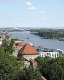 The top view from Bratislava castle of Danube Stock Photography