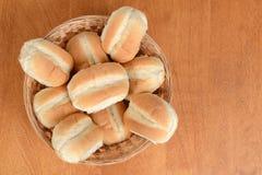 Top view bread rolls in wicker basket Stock Images