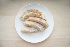 Top view of Bread served on white table Royalty Free Stock Photo