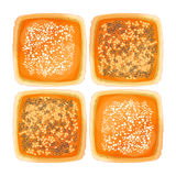 Top view on bread with sesame, poppy and flour toppings Royalty Free Stock Photography
