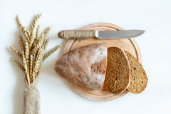 Top view of the bread and wheat Royalty Free Stock Photos