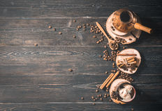 Top view of brewed coffee in cezve Stock Images