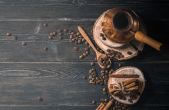 Top view of brewed coffee in cezve Royalty Free Stock Image
