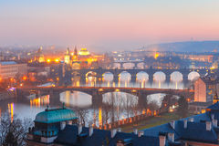Top view bridges on the Vltava River in Prague Royalty Free Stock Image