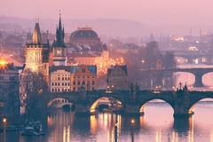 Top view bridges on the Vltava River in Prague, Czechia Royalty Free Stock Images