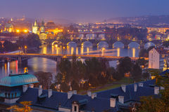 Top view bridges on the Vltava River in Prague Royalty Free Stock Images