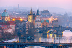 Top view bridges on the Vltava River in Prague Royalty Free Stock Photos