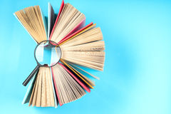 Top view of bright colorful hardback books in a circle. Stock Image