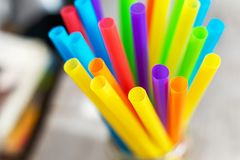 Plastic drinking straws and tubes stock photography