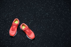 Top view of bright crimson sneakers for women, shoes for sports routine on a dark blurred background, copy space. Royalty Free Stock Images