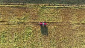 Crop spraying aerial view stock footage