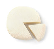 Top view of brined cheese wheel royalty free stock photo